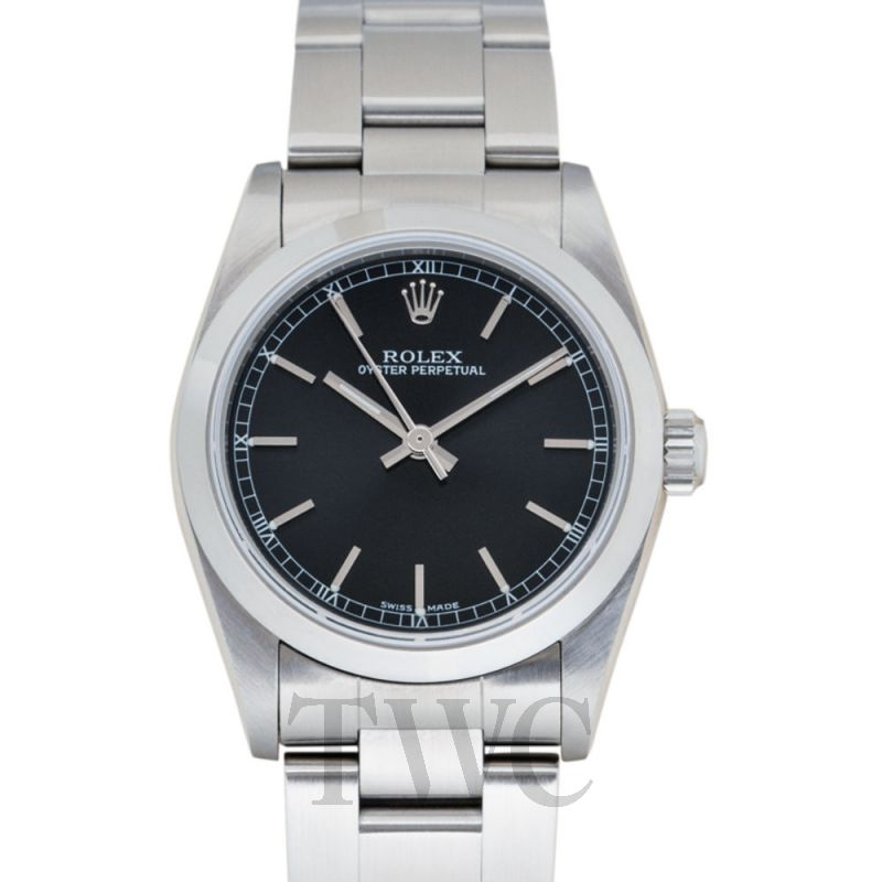 77080 black Rolex Oyster Perpetual Salmon Dial 31mm